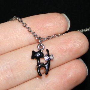 """Silver and black cat necklace 16"""""""